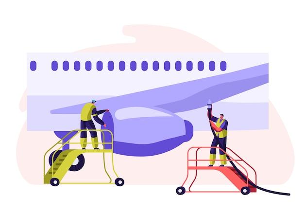 Avión de servicio para empleados del aeropuerto. hombre en uniforme de equipo en escalera de control de ala de vuelo de la aeronave.