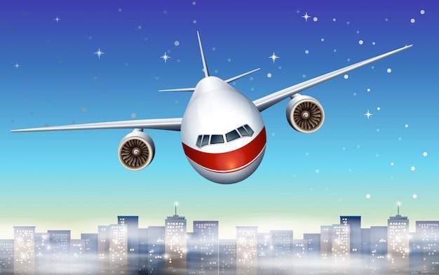 Un avión sobre la ciudad.