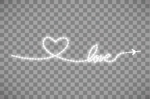 El avión y su pista en forma de tira de tira de led brillante en forma de corazón sobre transparente.