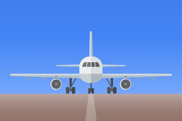 Avión con tren de aterrizaje en la pista. vista frontal. ilustración de estilo plano de aviones.