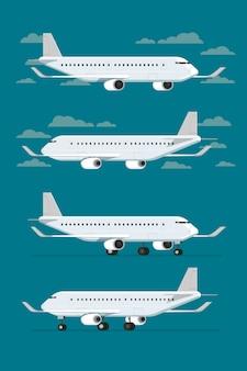 Avión volando en el cielo y los aviones aterrizados. ilustración vectorial