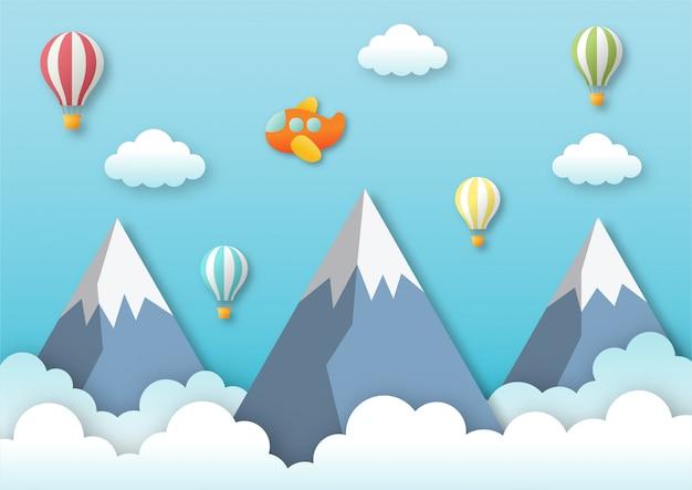 Avión volando en el cielo azul con globos y montañas. fondo de viaje de arte de papel.