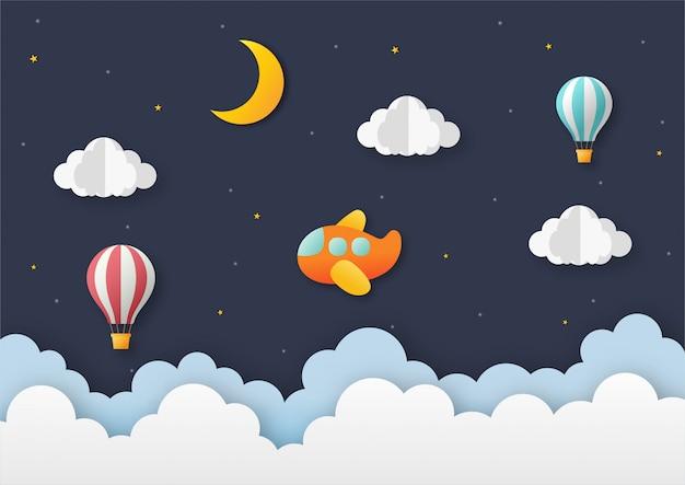 Avión volando en el cielo nocturno con globo. fondo de viaje de arte de papel.