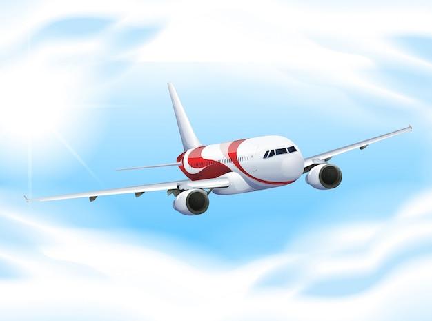 Avión volando en el cielo