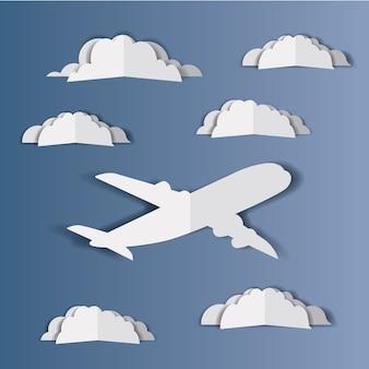 Avión volando con cloudscape
