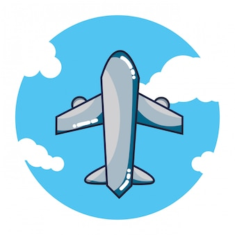 Avión volando dibujos animados