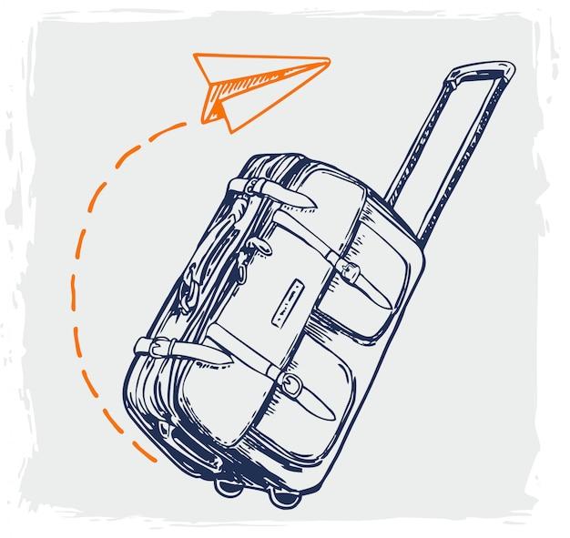 Avión volando por encima del equipaje turístico. maleta