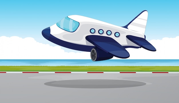 Avión volando fuera de la pista