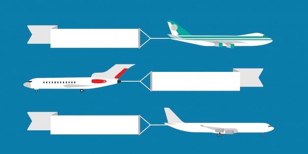 Avión volando con la ilustración de la bandera de la cinta. plantilla de tarjeta publicitaria de viaje.