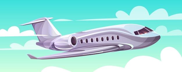 Avión volando en la ilustración del cielo del plano moderno de dibujos animados en las nubes para la agencia de viajes