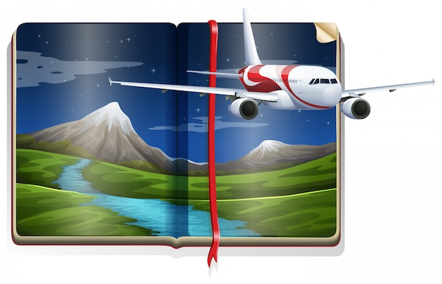 Avión volando sobre la escena del río en el libro