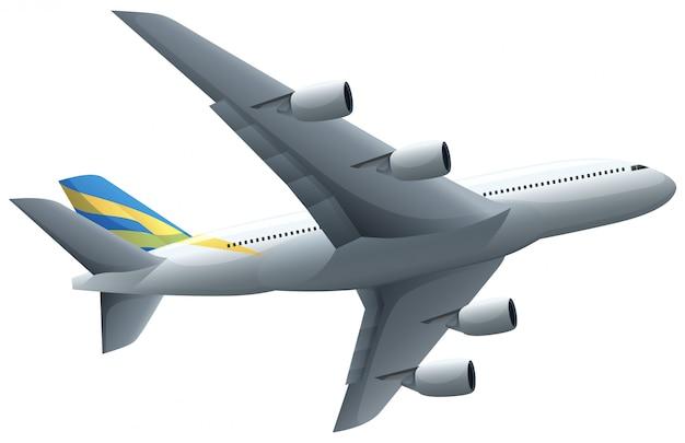 Avión volando sobre fondo blanco