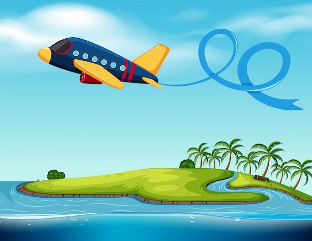 Avión volando sobre la isla