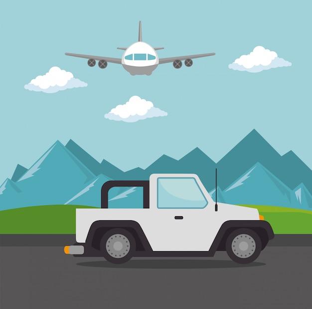 Avión volando con transporte en jeep