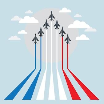 Aviones de combate militares durante la demostración, exhibición aérea, vuelo acrobático