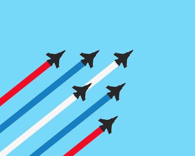 Aviones de combate militares con senderos.
