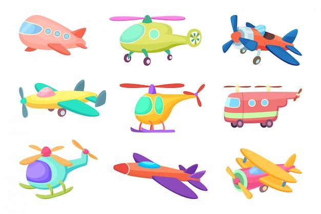 Aviones en estilo de dibujos animados, varios juguetes para niños.