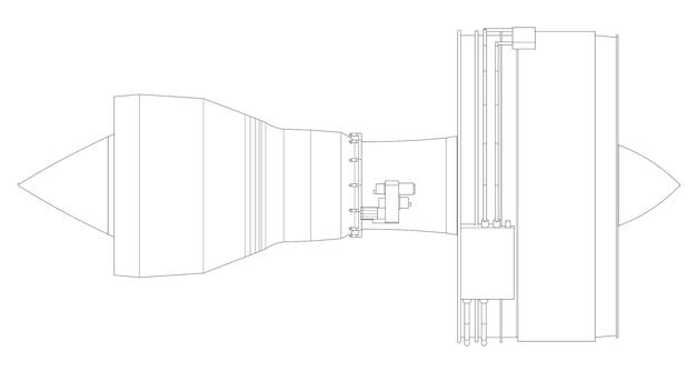 Aviones con motor a reacción turbo. ilustración de línea de vector.