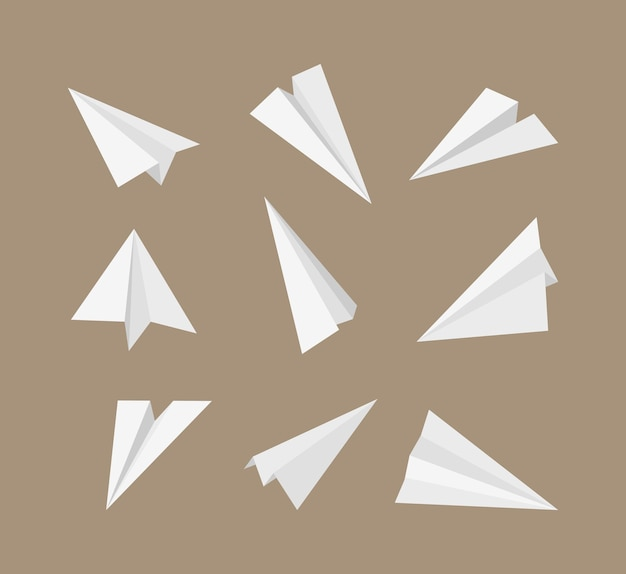 Aviones de papel. aviones de origami 3d que vuelan el conjunto de símbolos de viaje de papel. transporte de avión de origami, colección de ilustraciones de aviones de papel