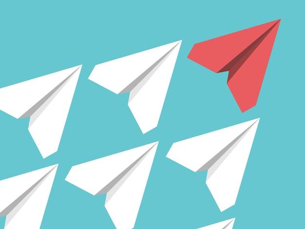 Aviones de papel blancos y rojos volando en el cielo azul turquesa. liderazgo, éxito, trabajo en equipo, gestión, jefe, motivación y concepto empresarial. ilustración de vector eps 8, sin transparencia