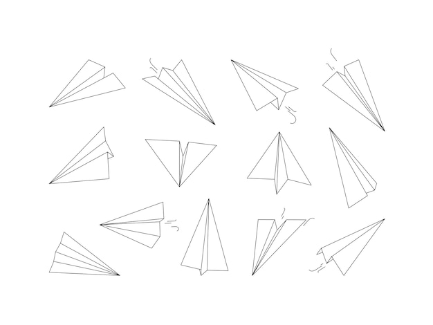 Aviones de papel lineales. dibujo de recogida de aire de transporte de aviones de origami. dibujo de avión de papel de ilustración, avión de origami lineal