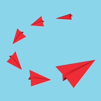 Aviones de papel rojo. ilustración vectorial
