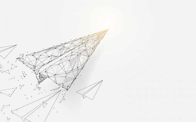 Aviones de papel volando desde líneas y diseño de partículas de estilo.