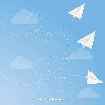 Aviones de papel vuelan sin fisuras patrón