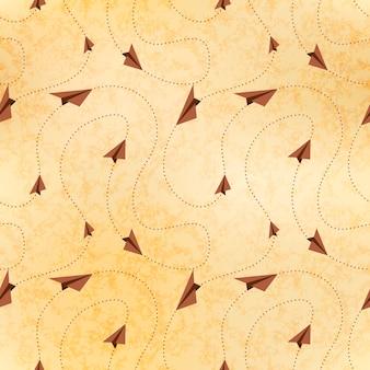 Aviones de papel vuelan en rutas, mapa en papel viejo, patrones sin fisuras