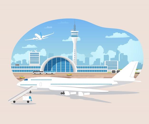 Aviones de pasajeros en espera y despegue en aeropuerto vector
