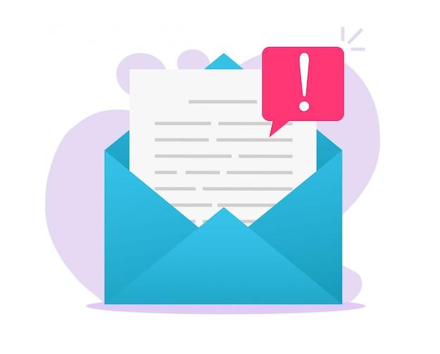 Aviso de archivo de mensaje de advertencia de malware de estafa en línea por correo electrónico en documento electrónico o carta de correo web digital de internet y vector de alerta de calentamiento de fraude plano