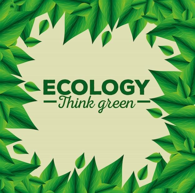 Aviso ecológico con hojas y conservación del medio ambiente.