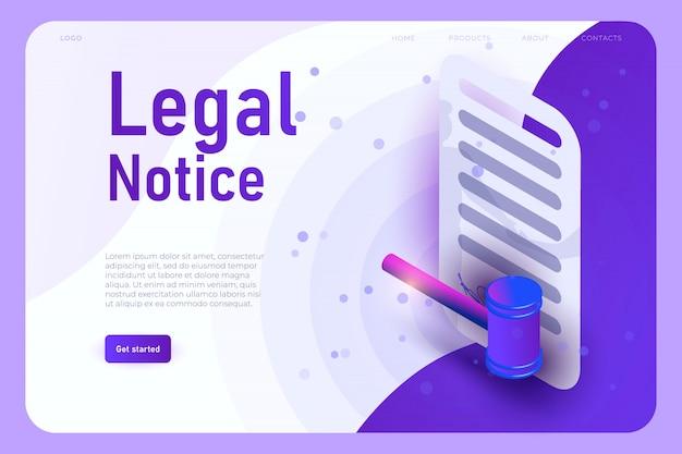 Aviso legal plantilla de página de aterrizaje con acuerdo isométrico y 3d juez martillo de justicia,