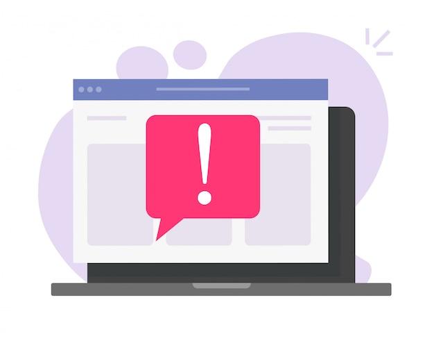 Aviso de mensaje de precaución de estafa en línea en el sitio web de la computadora portátil