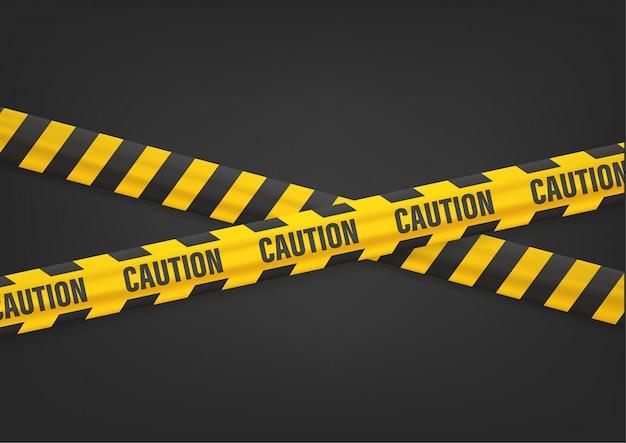 Aviso de precaución con cintas en negro