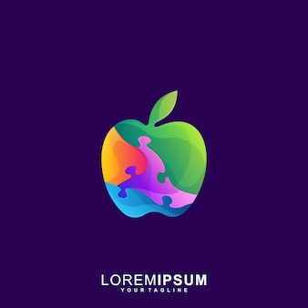 Awesome puzzle apple premium logo