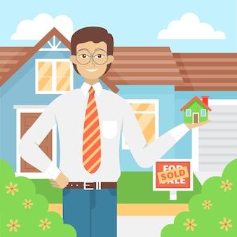 Ayuda de agente de bienes raíces hombre ilustrada