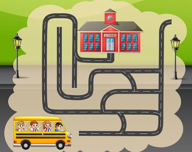 Ayuda al autobús escolar a encontrar el camino a la escuela.