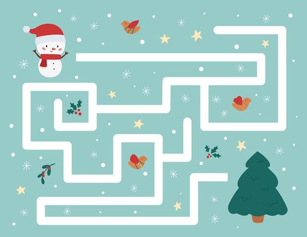 Ayuda al muñeco de nieve a encontrar el camino correcto hacia el árbol de navidad