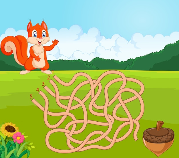 Ayuda a la ardilla a encontrar el camino a la piña en el juego del laberinto