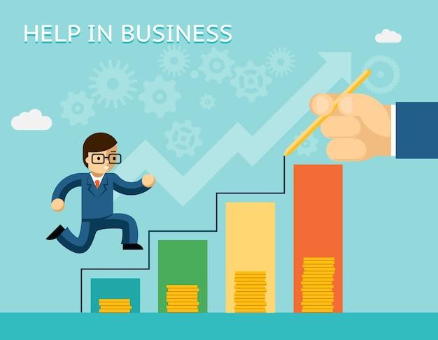 Ayuda en concepto de negocio. asociaciones y tutorías. mentor y éxito, consejo y socio