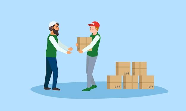 Ayuda humanitaria cajas concepto banner, estilo plano.