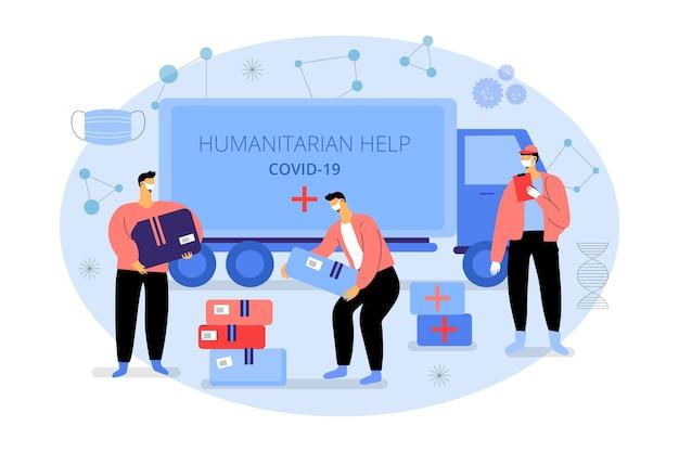 Ayuda humanitaria cajas de entrega y camiones