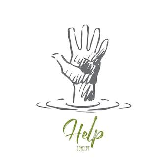 Ayuda ilustración dibujada a mano