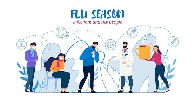Ayuda médica y atención para personas enfermas ilustración plana