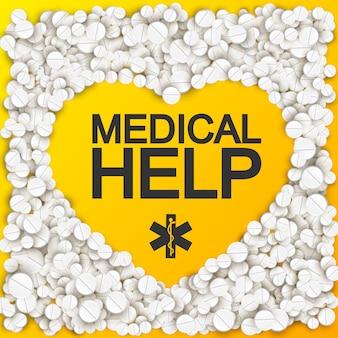 Ayuda médica con corazón formando inscripción caduceo píldoras y drogas