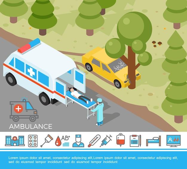 Ayuda médica isométrica con un médico de emergencia que hospitaliza al conductor después de un accidente y una colorida ilustración de iconos de medicina plana