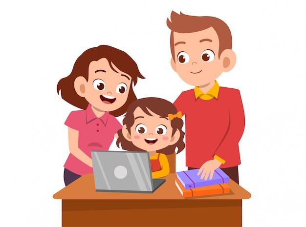 La ayuda de los padres enseña al niño | Vector Premium