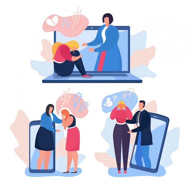 Ayuda de psicología en línea, ilustración. psicoterapia para la salud del paciente, psicólogo de apoyo a la mujer en depresión.