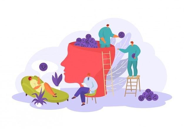 Ayuda del psicólogo para personas, problemas mentales y emocionales en la ilustración de psicoterapia aislado en blanco.